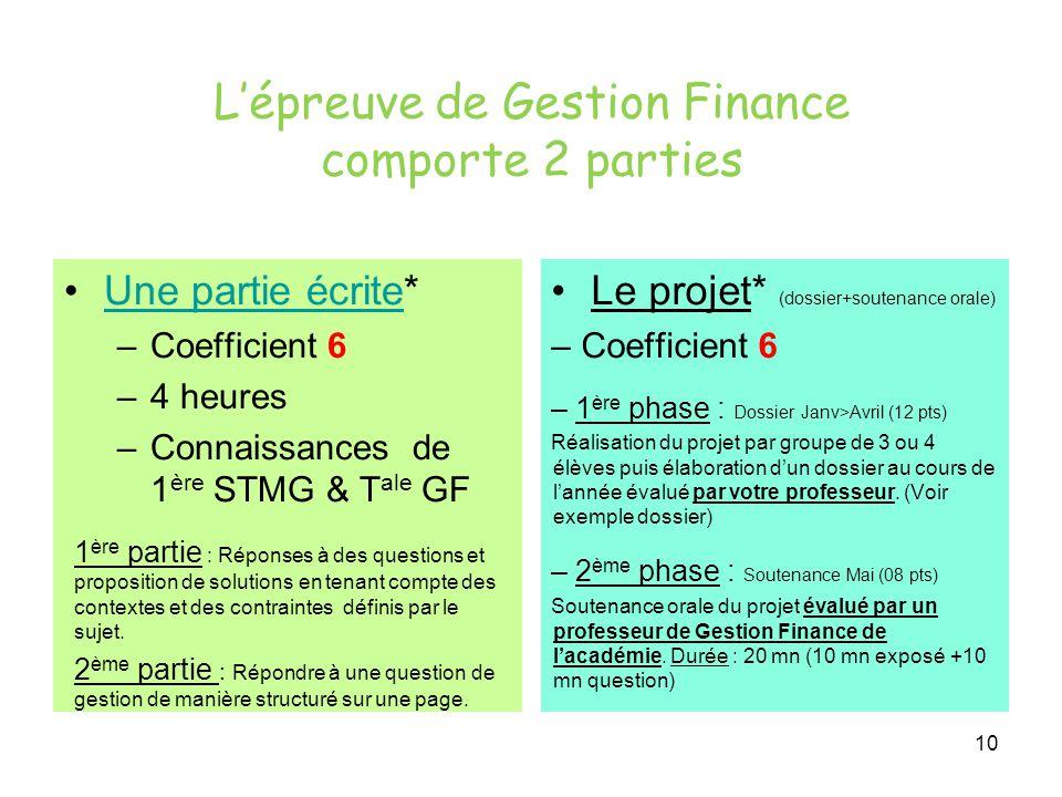 10 L'épreuve de Gestion Finance comporte 2 parties Une partie écrite*Une partie écrite –Coefficient 6 –4 heures –Connaissances de 1 ère STMG & T ale G