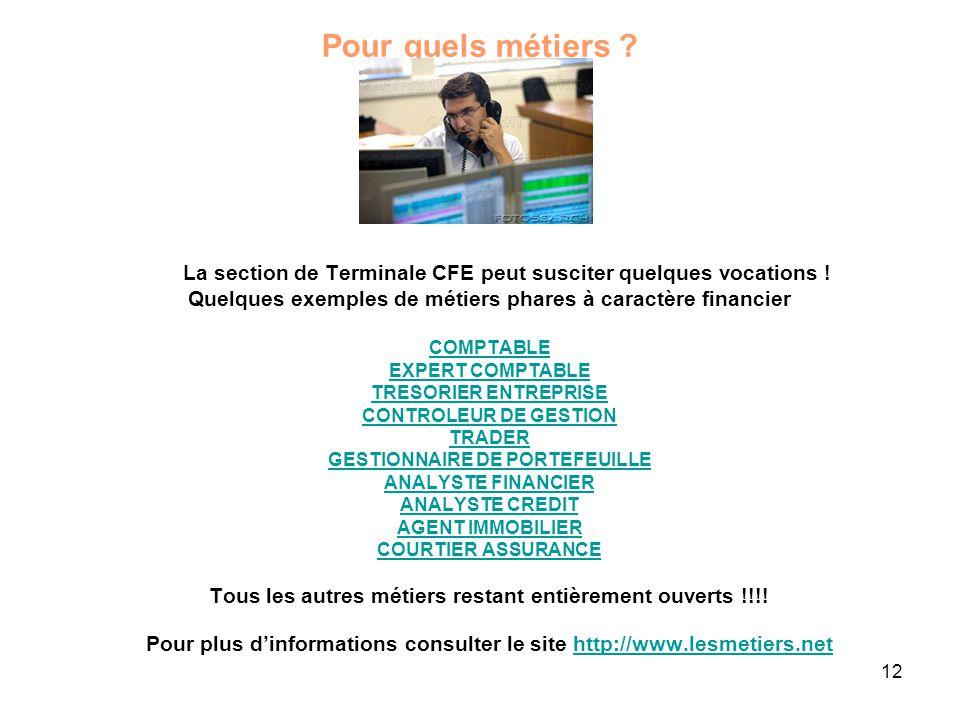 12 Pour quels métiers .La section de Terminale CFE peut susciter quelques vocations .