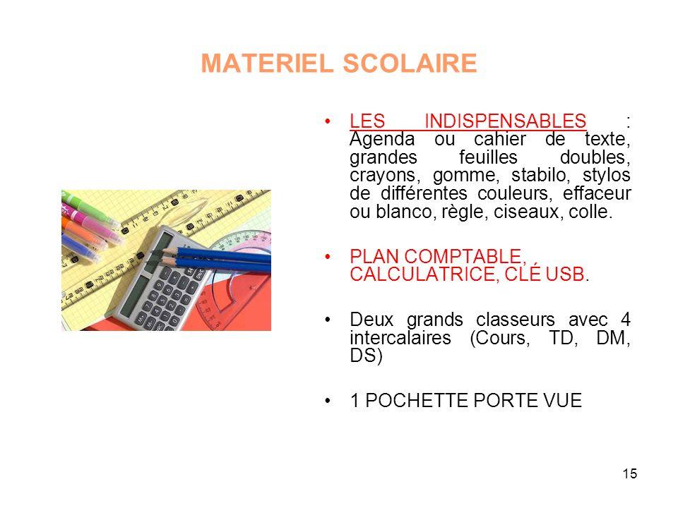 15 MATERIEL SCOLAIRE LES INDISPENSABLES : Agenda ou cahier de texte, grandes feuilles doubles, crayons, gomme, stabilo, stylos de différentes couleurs