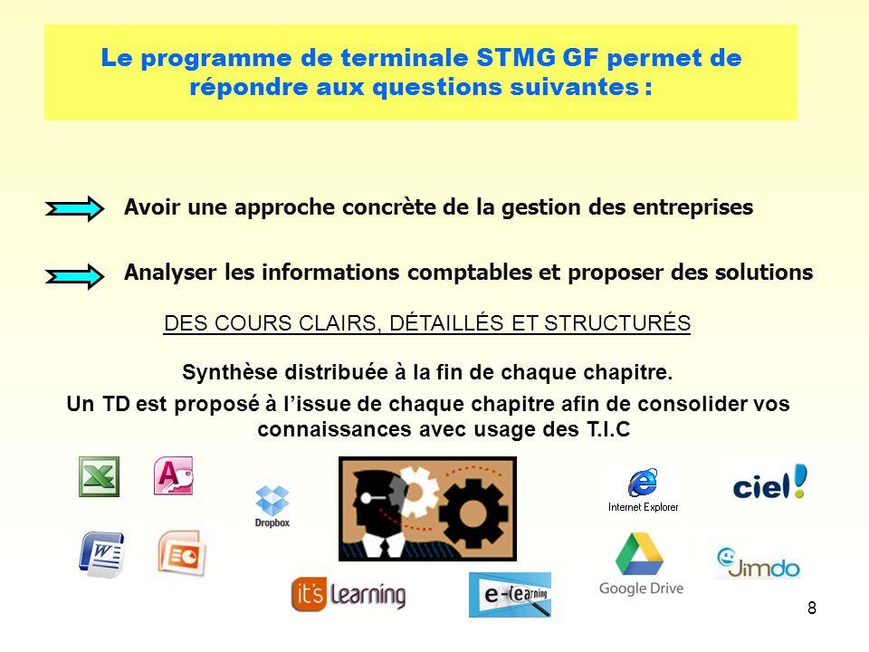 8 Le programme de terminale STMG GF permet de répondre aux questions suivantes : Avoir une approche concrète de la gestion des entreprises Analyser le