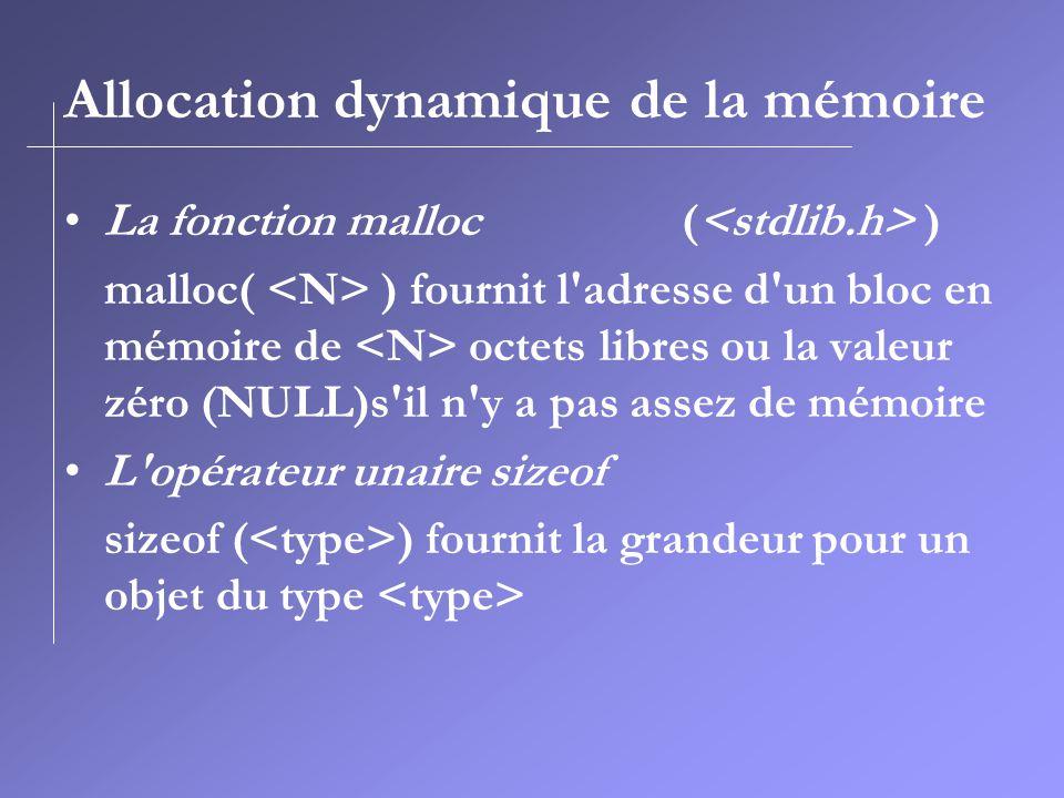 Allocation dynamique de la mémoire La fonction malloc ( ) malloc( ) fournit l'adresse d'un bloc en mémoire de octets libres ou la valeur zéro (NULL)s'