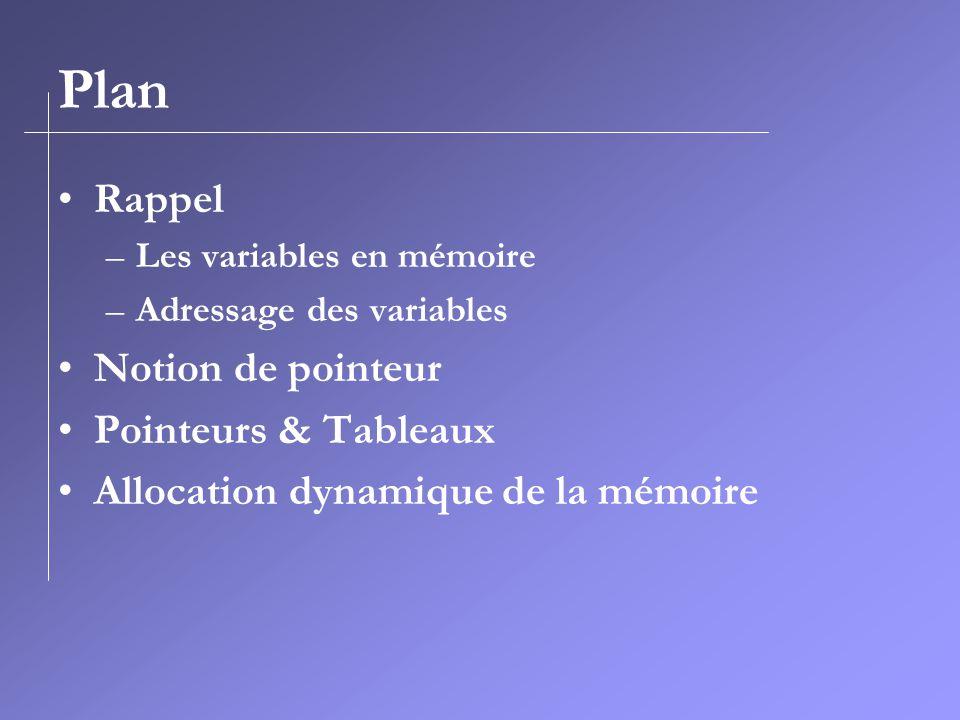 Plan Rappel –Les variables en mémoire –Adressage des variables Notion de pointeur Pointeurs & Tableaux Allocation dynamique de la mémoire