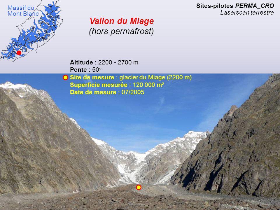 Versants NE et SW du vallon du glacier du Miage (2700 m) Sites-pilotes PERMA_CRO Laserscan terrestre Massif du Mont Blanc Vallon du Miage (hors permaf