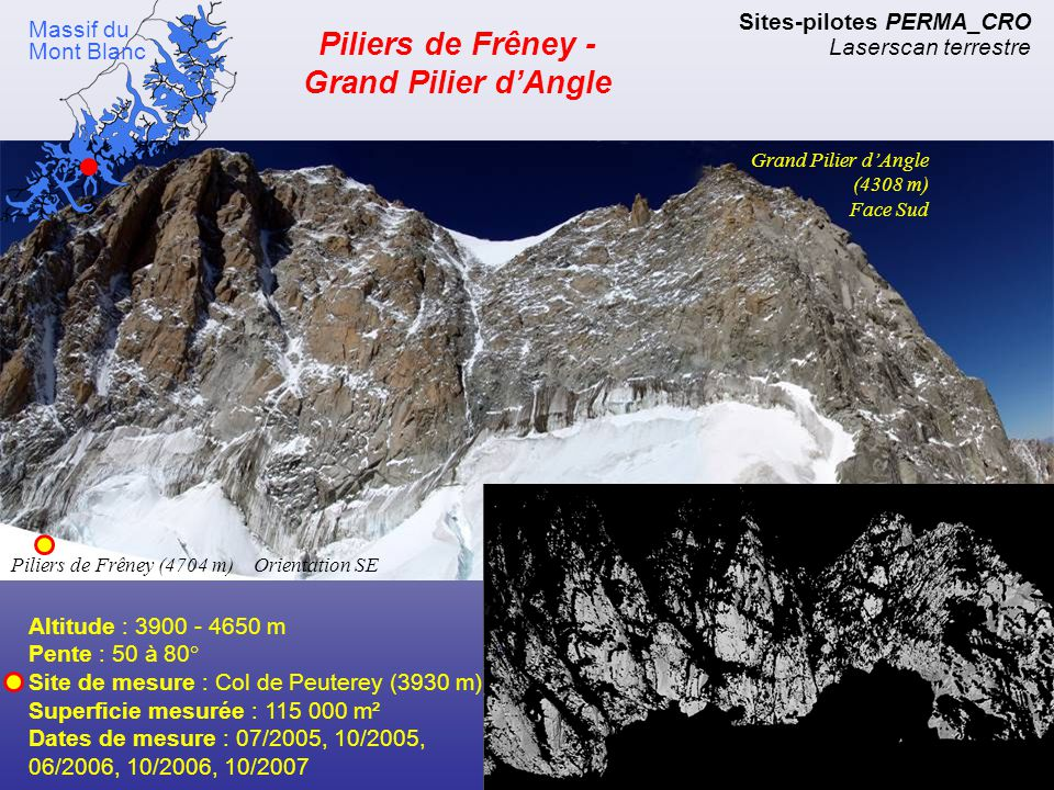 Face nord des Aiguilles Blanches de Peuterey Sites-pilotes PERMA_CRO Laserscan terrestre Massif du Mont Blanc Altitude : 3900 - 4103 m Pente : 65° Site de mesure : Col de Peuterey (3930 m) Superficie mesurée : 17 000 m² Dates de mesure : 07/2005, 10/2005, 06/2006, 10/2006, 10/2007