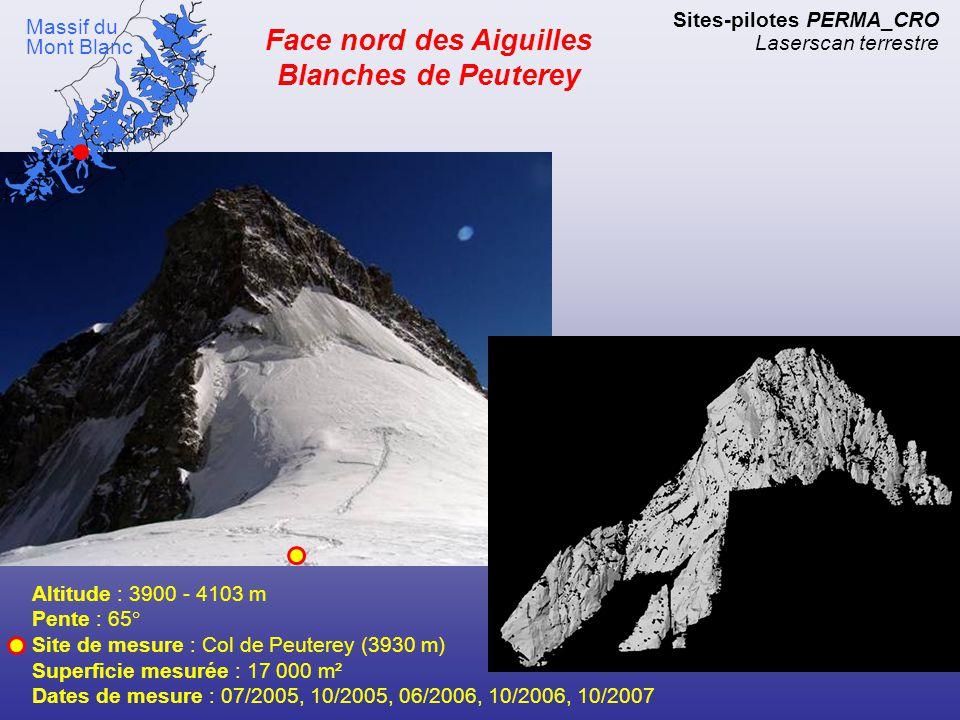 Face est Tour Ronde Altitude : 3450 - 3792 m Pente : 45 à 75° Site de mesure : Col d'Entrèves (3450 m) Superficie mesurée : 67 000 m² Dates de mesure : 06/2005, 07/2005, 07/2006, 10/2006, 10/2007 Sites-pilotes PERMA_CRO Laserscan terrestre Massif du Mont Blanc