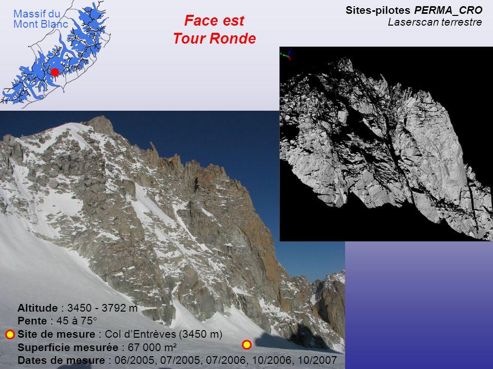Face ouest Aiguilles d'Entrèves Altitude : 3450 - 3600 m Pente : 60° Site de mesure : Col d'Entrèves (3450 m) Superficie mesurée : 22 000 m² Dates de mesure : 06/2005, 07/2005, 07/2006, 10/2006, 10/2007 Sites-pilotes PERMA_CRO Laserscan terrestre Massif du Mont Blanc