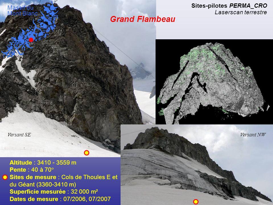 Face sud de la Pointe de l'Androsace Altitude : 3700 - 4107 m Pente : 40 à 70° Lieu de mesure : Cirque de la Brenva (3600 m) Superficie mesurée : 18 000 m² Date de mesure : 10/2007 Sites-pilotes PERMA_CRO Laserscan terrestre Massif du Mont Blanc