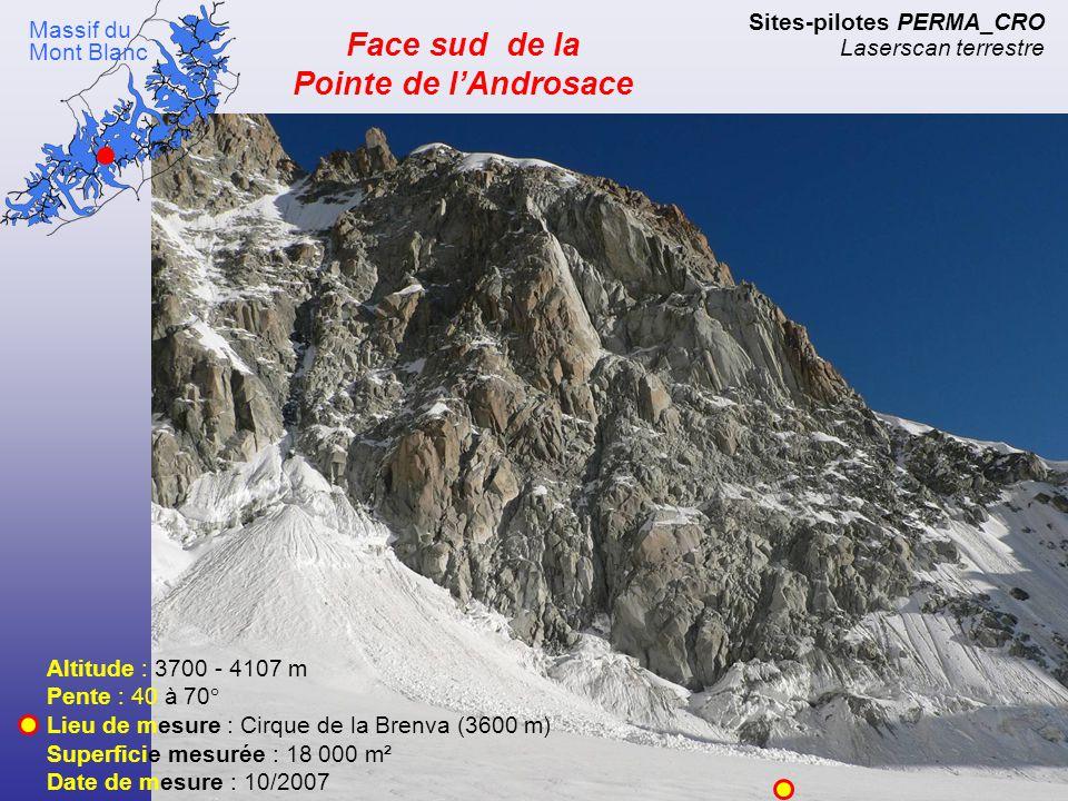 Sites-pilotes PERMA_CRO Laserscan terrestre Altitude : 3580 - 4100 m Pente : 50° Lieu de mesure : Tête du Lion (3715 m) Superficie mesurée : XXXXX m² Date de mesure : 09/2007 Massif du Cervin Crête du Lion (arête SW)