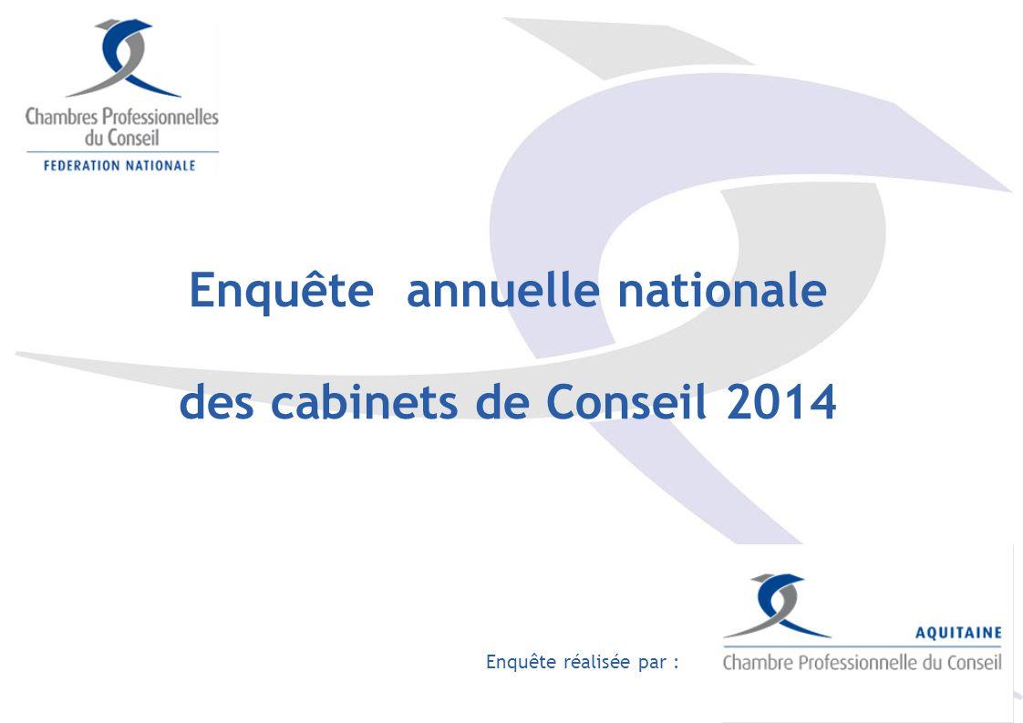 Enquête annuelle nationale des cabinets de Conseil 2014 Enquête réalisée par :