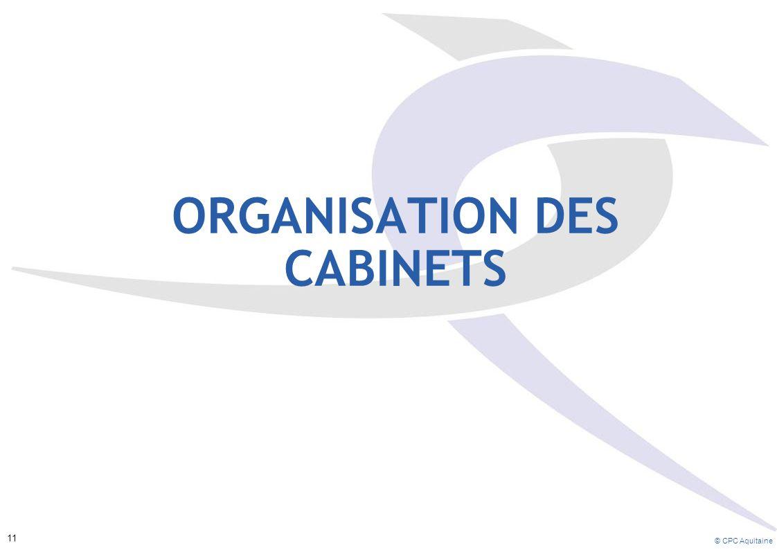 ORGANISATION DES CABINETS © CPC Aquitaine 11