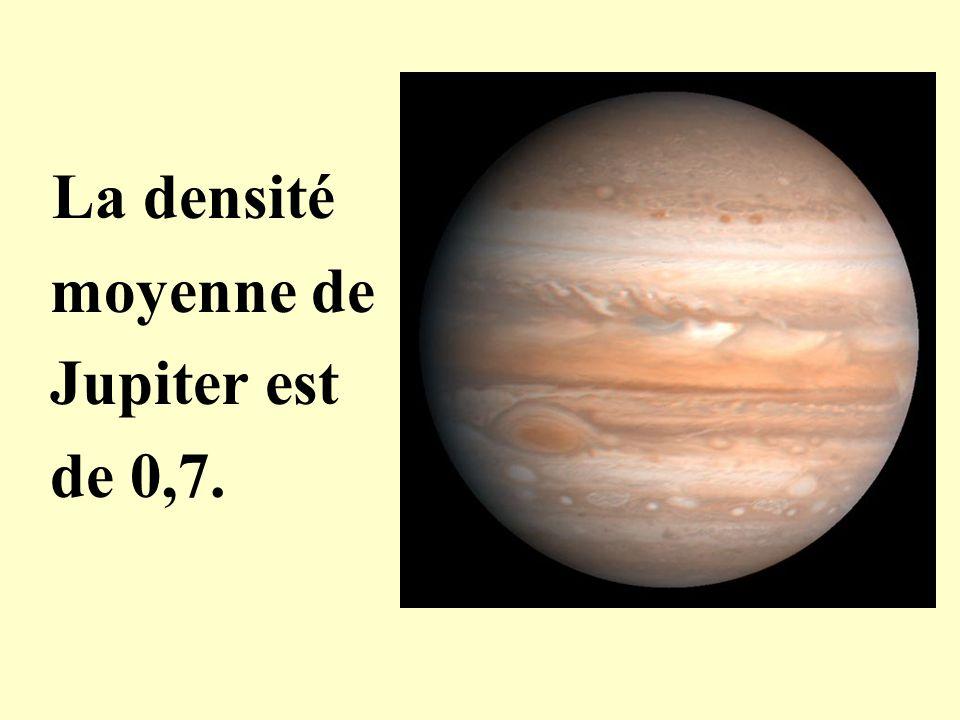 La densité moyenne de Jupiter est de 0,7.
