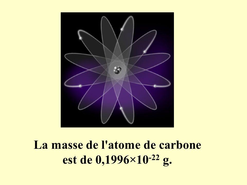 La masse de l'atome de carbone est de 0,1996×10 -22 g.
