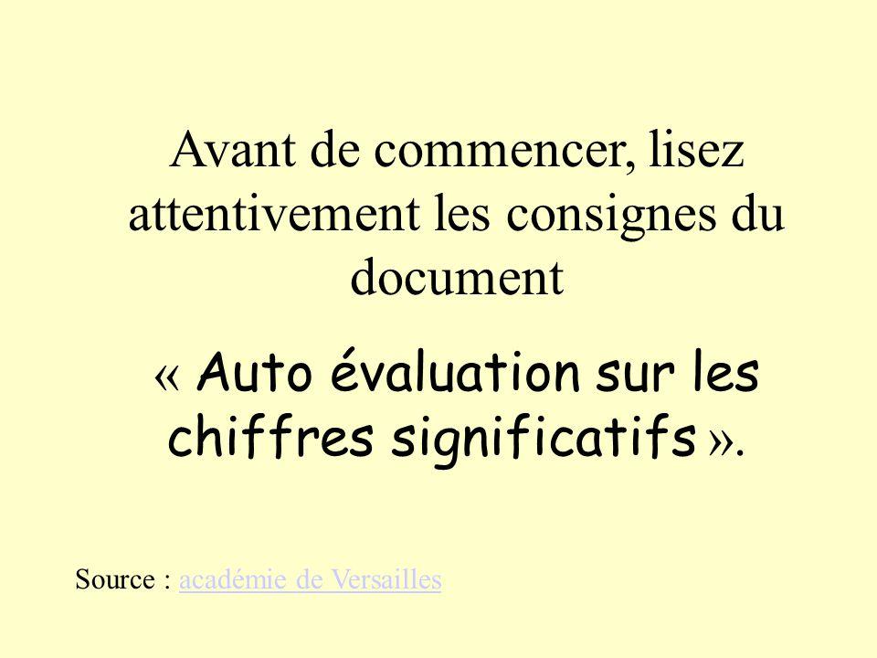 Avant de commencer, lisez attentivement les consignes du document « Auto évaluation sur les chiffres significatifs ». Source : académie de Versaillesa