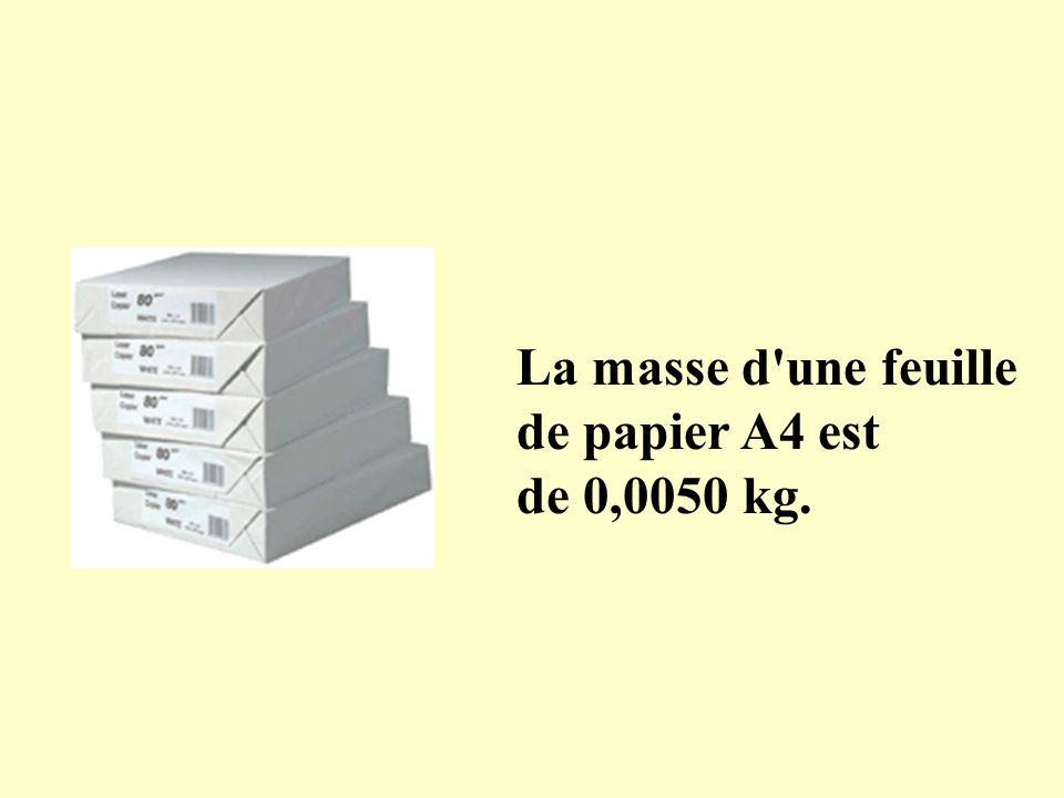 La masse d'une feuille de papier A4 est de 0,0050 kg.