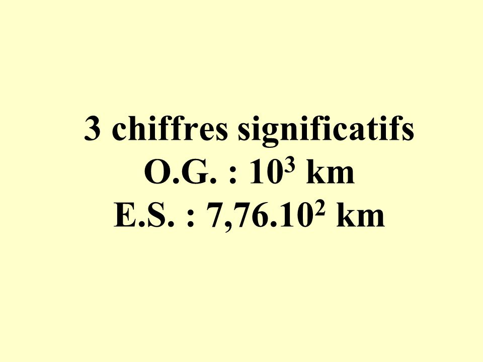 3 chiffres significatifs O.G. : 10 3 km E.S. : 7,76.10 2 km