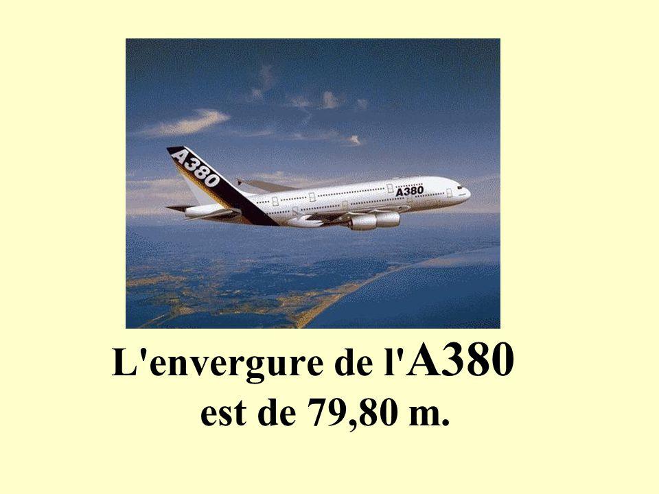 L'envergure de l' A380 est de 79,80 m.