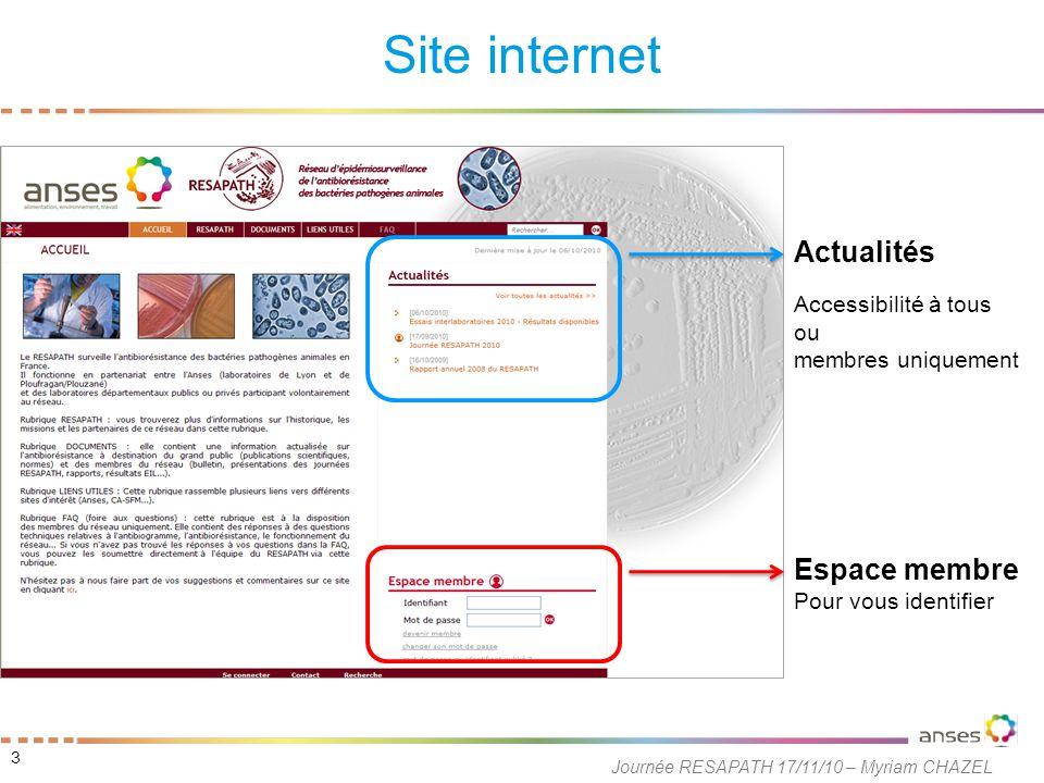 Site internet 3 Journée RESAPATH 17/11/10 – Myriam CHAZEL Actualités Accessibilité à tous ou membres uniquement Espace membre Pour vous identifier
