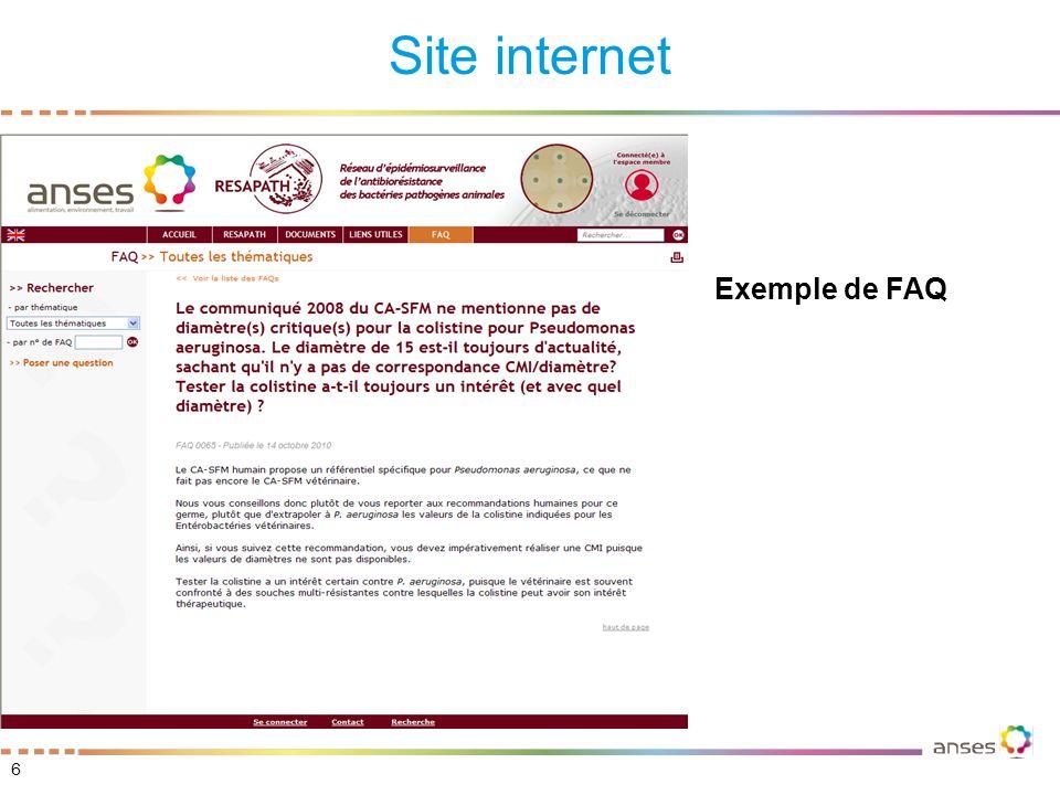 Site internet 7 Journée RESAPATH 17/11/10 – Myriam CHAZEL Poser une question dont la réponse n'est pas dans la FAQ Possibilité de joindre une pièce A utiliser en remplacement de la boîte mail resapath