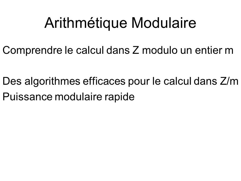 Arithmétique Modulaire Comprendre le calcul dans Z modulo un entier m Des algorithmes efficaces pour le calcul dans Z/m Puissance modulaire rapide