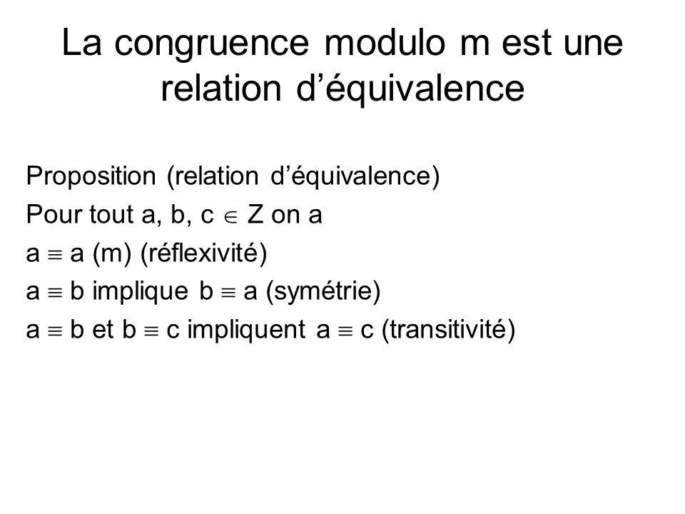 La congruence modulo m est une relation d'équivalence Proposition (relation d'équivalence) Pour tout a, b, c  Z on a a  a (m) (réflexivité) a  b im