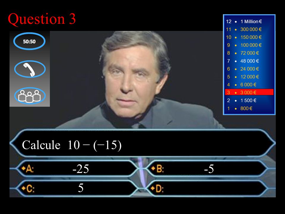 –1–1 1 er calcul Question 3 -25 -5 Calcule 10 − (−15)