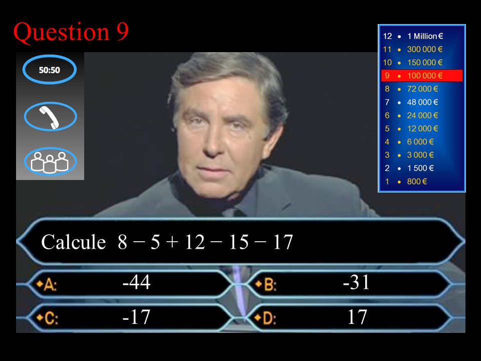 –1–1 1 er calcul Question 9 -31 -17 -44 Calcule 8 − 5 + 12 − 15 − 17