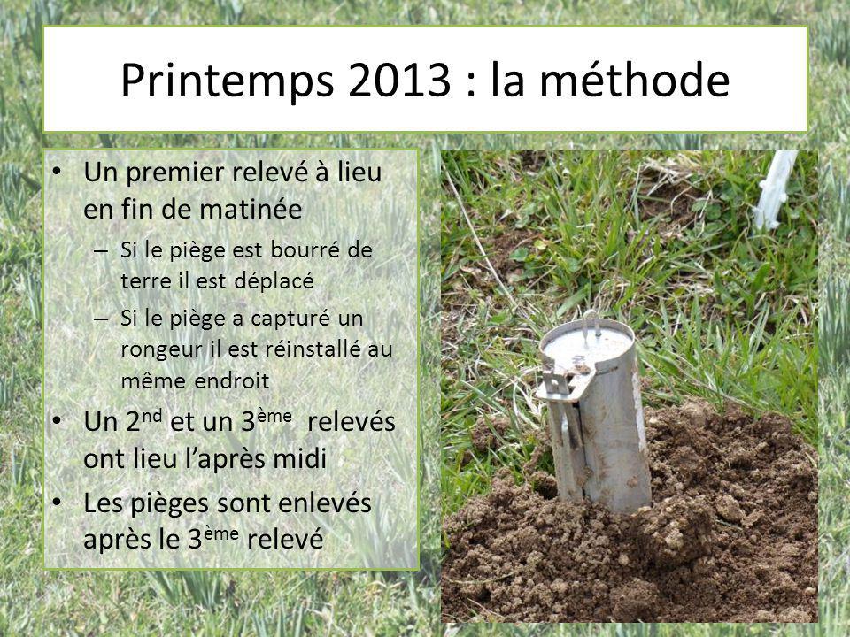 Printemps 2013 : la méthode Un premier relevé à lieu en fin de matinée – Si le piège est bourré de terre il est déplacé – Si le piège a capturé un ron