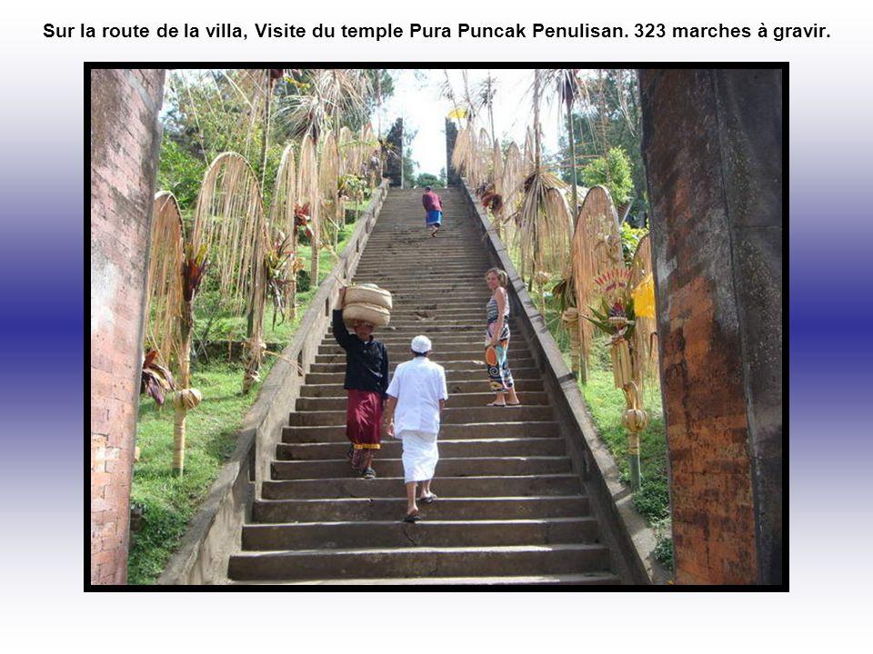 Sur la route de la villa, Visite du temple Pura Puncak Penulisan. 323 marches à gravir.