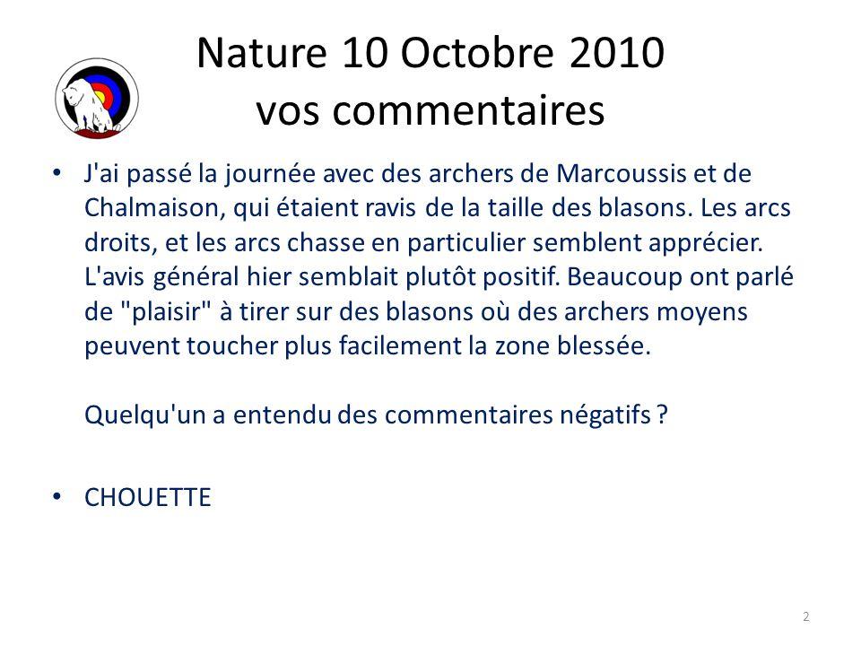 Nature 10 Octobre 2010 vos commentaires Belles cibles, belles bêtes.