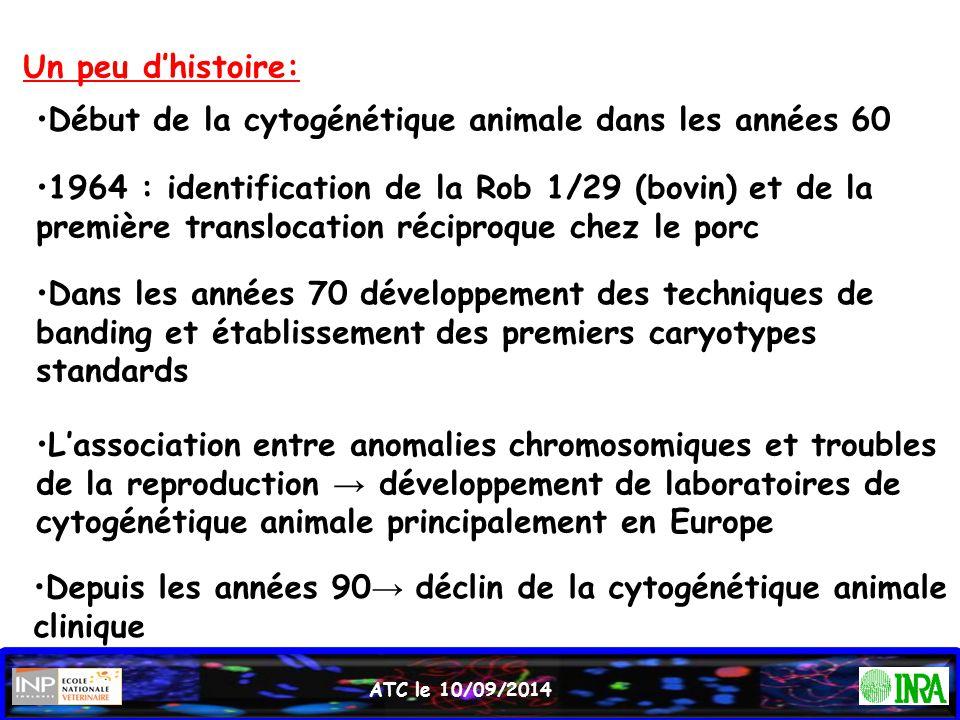 ATC le 10/09/2014 Début de la cytogénétique animale dans les années 60 1964 : identification de la Rob 1/29 (bovin) et de la première translocation ré