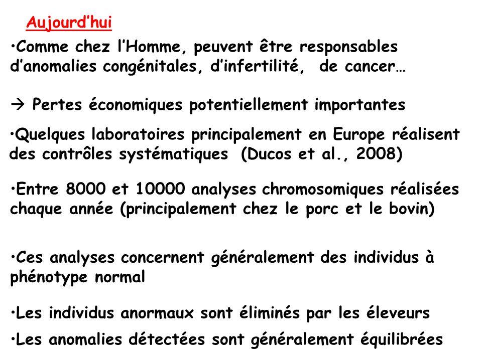 Entre 8000 et 10000 analyses chromosomiques réalisées chaque année (principalement chez le porc et le bovin) Ces analyses concernent généralement des