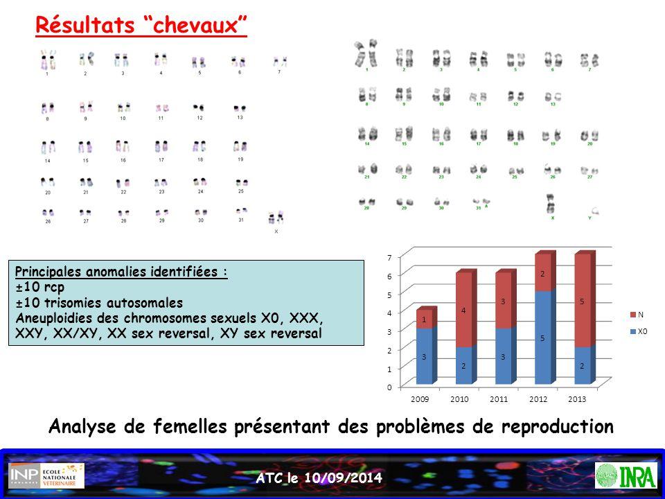 """ATC le 10/09/2014 Résultats """"chevaux"""" Analyse de femelles présentant des problèmes de reproduction Principales anomalies identifiées : ±10 rcp ±10 tri"""