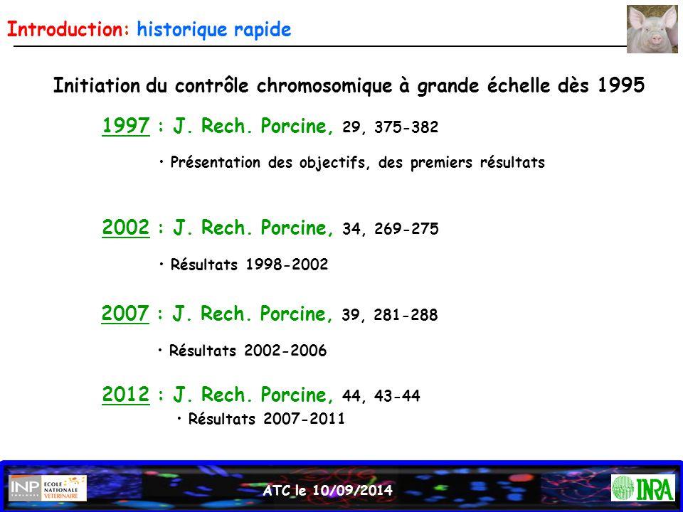 ATC le 10/09/2014 Introduction: historique rapide Initiation du contrôle chromosomique à grande échelle dès 1995 1997 : J. Rech. Porcine, 29, 375-382
