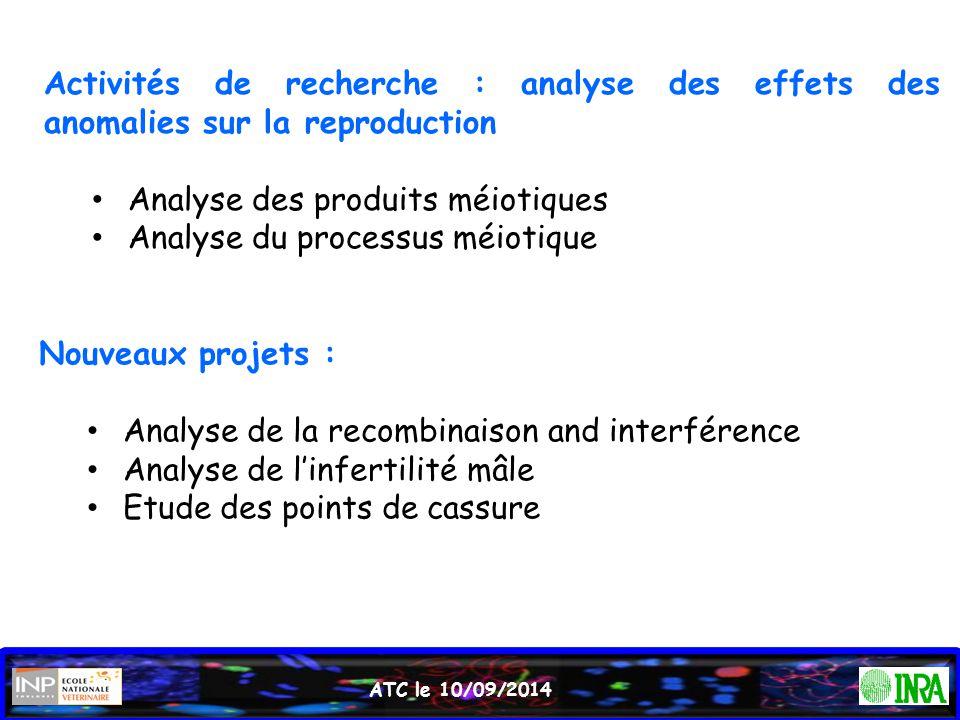 Activités de recherche : analyse des effets des anomalies sur la reproduction Analyse des produits méiotiques Analyse du processus méiotique Nouveaux