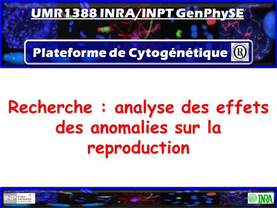 ATC le 10/09/2014 Recherche : analyse des effets des anomalies sur la reproduction Plateforme de Cytogénétique