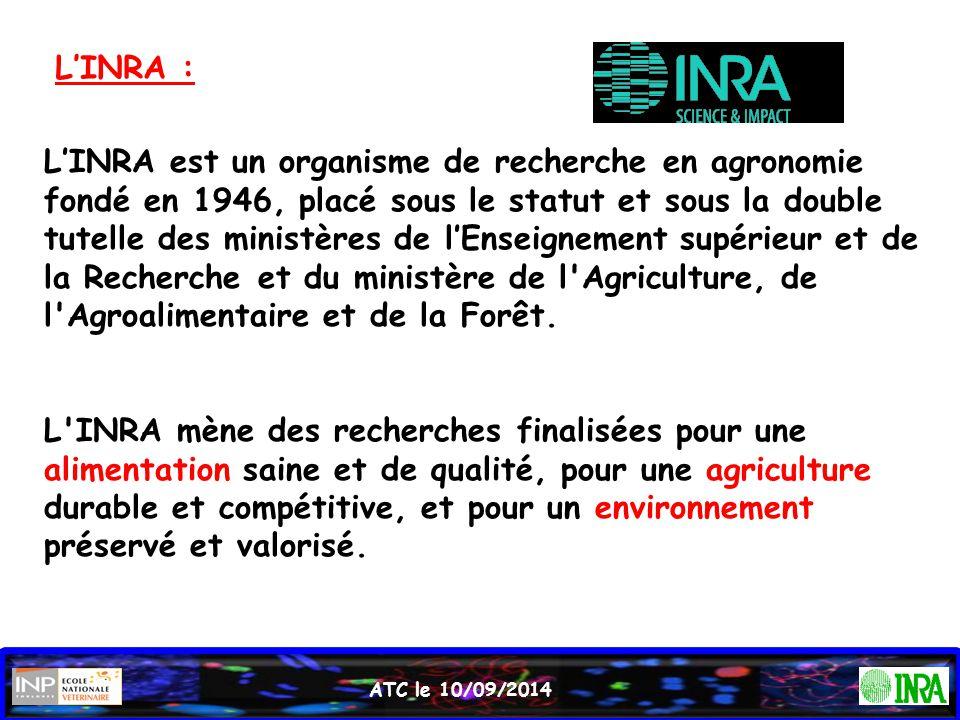 L'INRA est un organisme de recherche en agronomie fondé en 1946, placé sous le statut et sous la double tutelle des ministères de l'Enseignement supér