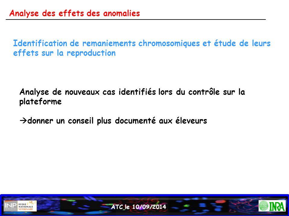 ATC le 10/09/2014 Identification de remaniements chromosomiques et étude de leurs effets sur la reproduction Analyse de nouveaux cas identifiés lors d