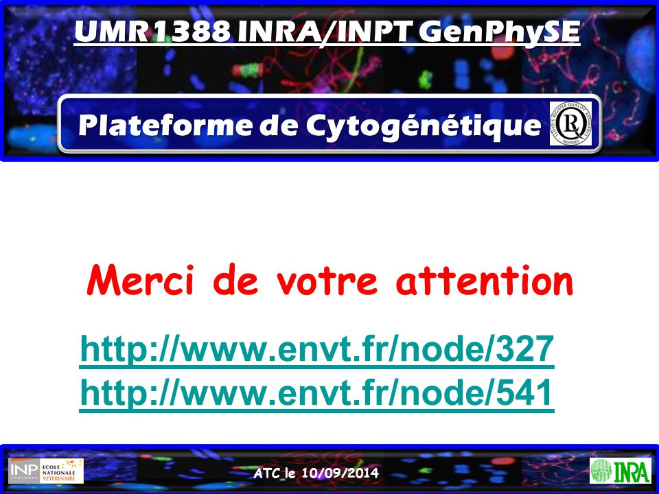 Merci de votre attention ATC le 10/09/2014 http://www.envt.fr/node/327 http://www.envt.fr/node/541 Plateforme de Cytogénétique