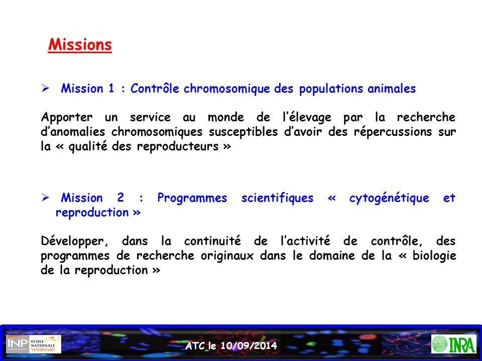 Missions  Mission 2 : Programmes scientifiques « cytogénétique et reproduction » Développer, dans la continuité de l'activité de contrôle, des progra