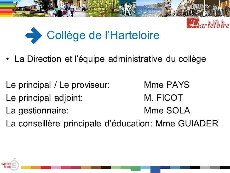 Collège de l'Harteloire La Direction et l'équipe administrative du collège Le principal / Le proviseur: Mme PAYS Le principal adjoint:M. FICOT La gest