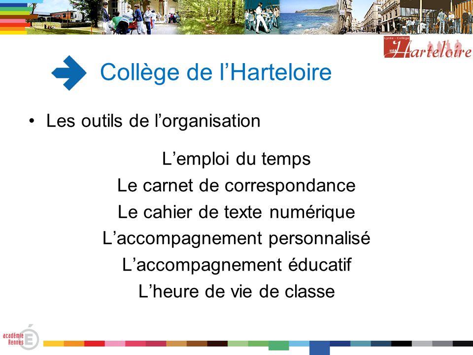 Collège de l'Harteloire Les outils de l'organisation L'emploi du temps Le carnet de correspondance Le cahier de texte numérique L'accompagnement perso