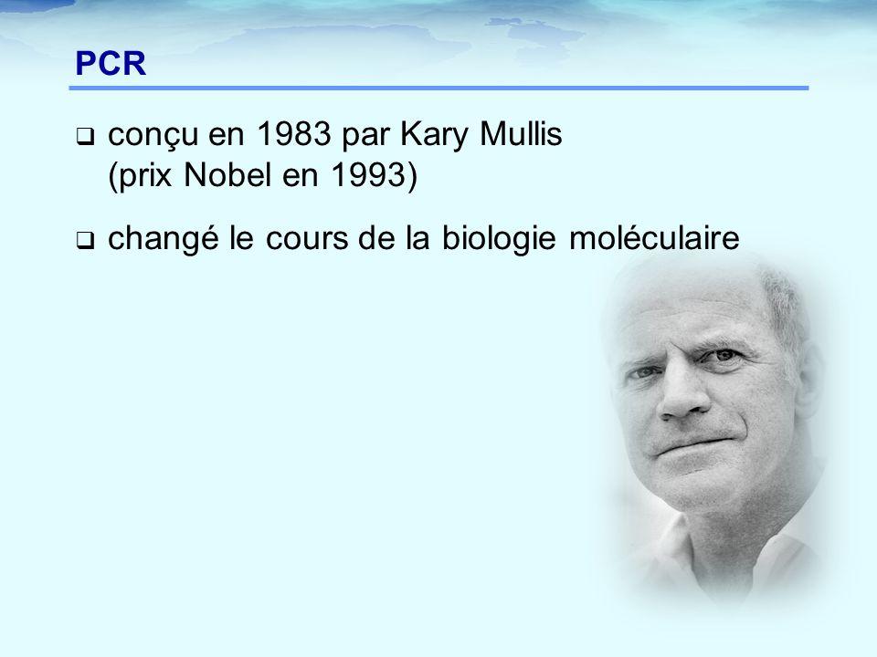  conçu en 1983 par Kary Mullis (prix Nobel en 1993)  changé le cours de la biologie moléculaire PCR