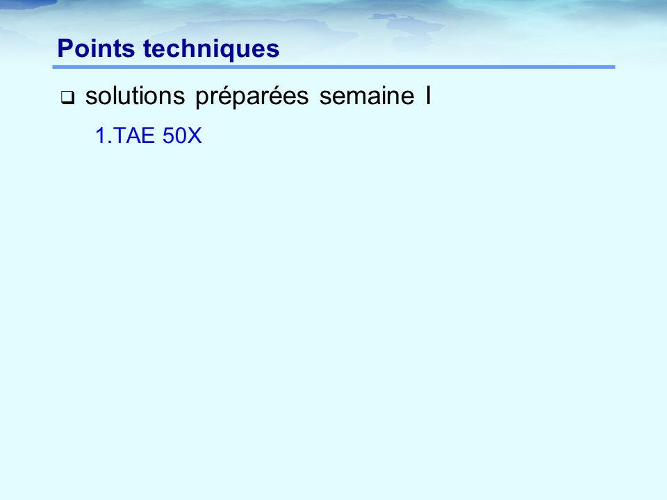  solutions préparées semaine I 1.TAE 50X Points techniques