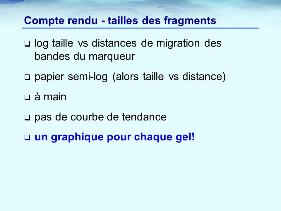 Compte rendu - tailles des fragments  log taille vs distances de migration des bandes du marqueur  papier semi-log (alors taille vs distance)  à ma