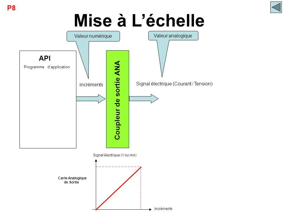 API Mise à L'échelle Coupleur de sortie ANA Signal électrique (V ou mA) Incréments Carte Analogique de Sortie incréments Signal électrique (Courant /