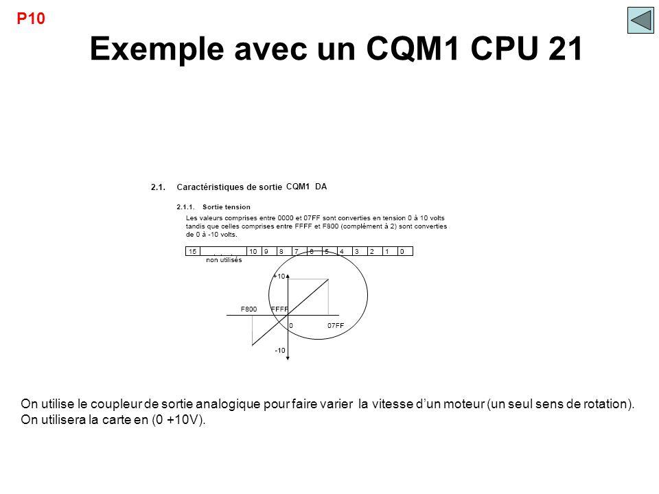 Exemple avec un CQM1 CPU 21 CQM1 DA P10 On utilise le coupleur de sortie analogique pour faire varier la vitesse d'un moteur (un seul sens de rotation