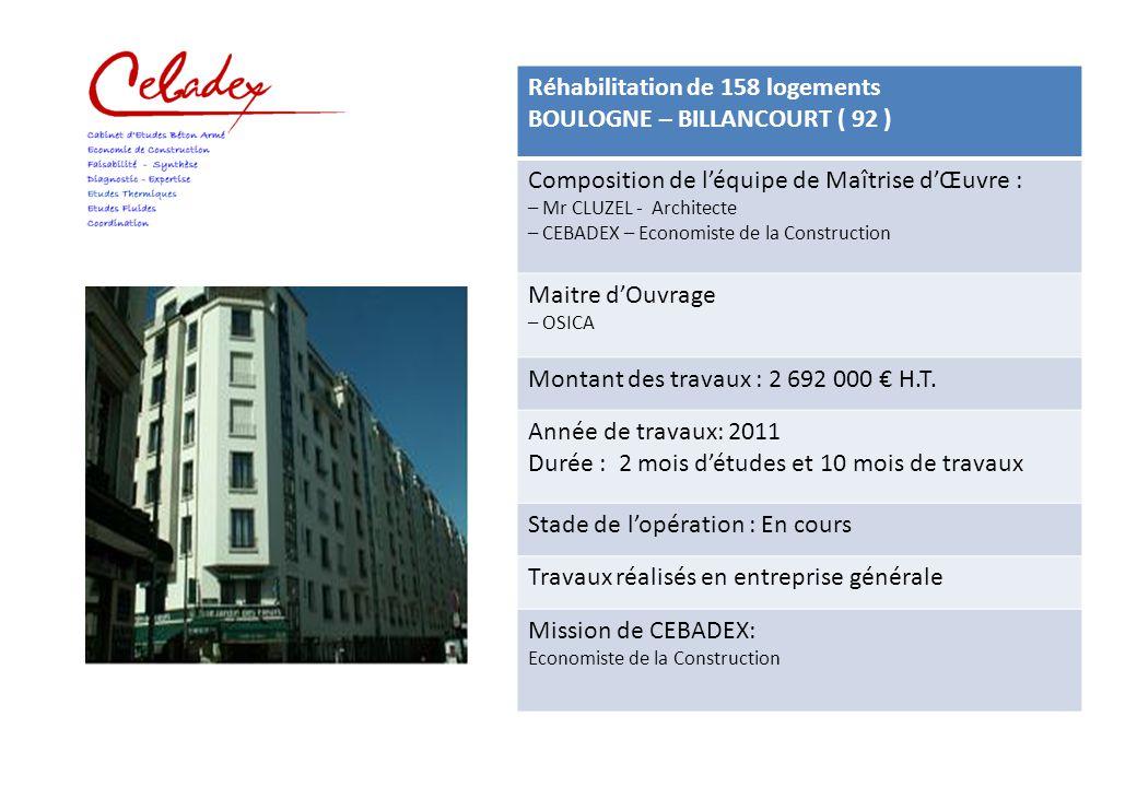 Réhabilitation de 158 logements BOULOGNE – BILLANCOURT ( 92 ) Composition de l'équipe de Maîtrise d'Œuvre : – Mr CLUZEL - Architecte – CEBADEX – Econo