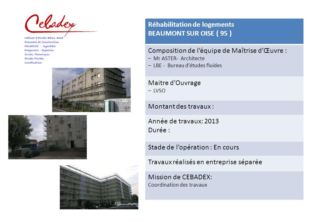 Réhabilitation de logements DEUIL LA BARRE ( 95 ) Composition de l'équipe de Maîtrise d'Œuvre : – Mr CLUZEL - Architecte – CEBADEX - Bureau d'Etude Maitre d'Ouvrage – SCI DU BOIS Montant des travaux : 174 700 € H.T.