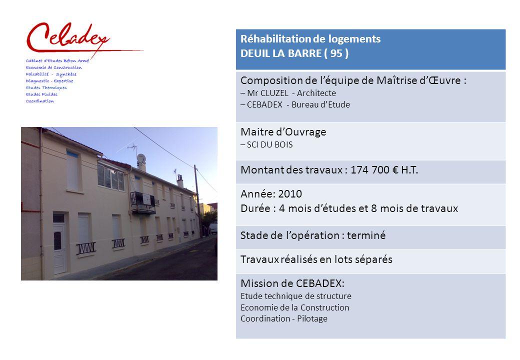 Réhabilitation de logements DEUIL LA BARRE ( 95 ) Composition de l'équipe de Maîtrise d'Œuvre : – Mr CLUZEL - Architecte – CEBADEX - Bureau d'Etude Ma