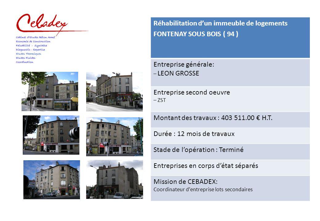 Réhabilitation d'un immeuble de 16 logements PARIS ( 75 ) Composition de l'équipe de Maîtrise d'Œuvre : Mr CLUZEL - Architecte BETIOR - Bureau d'étude fluide CEBADEX - Economie de la Construction Maitre d'Ouvrage GAZ DE FRANCE Montant des travaux : 1 536 000 € H.T.